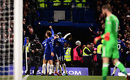 Alvora Morata of Chelsea celebrates with his team mates after he scores his teams 1st goal to make it 1-0 .Premier league match, Chelsea v Manchester United at Stamford Bridge in London on Sunday 5th November 2017.<br /> pic by Andrew Orchard sports photography.