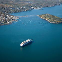 A cruise ship anchored in Bar Harbor Maine USA