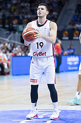 September 17, 2018 - Madrid, Spain - Rihards Lomazs of Latvia during the FIBA Basketball World Cup Qualifier match Spain against Latvia at Wizink Center in Madrid, Spain. September 17, 2018. (Credit Image: © Coolmedia/NurPhoto/ZUMA Press)