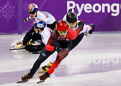 February 17, 2018 - Gangneung, South Korea - Short track skaters Yira Seo of Korea and Hyojun Lim of Korea crash with Shaolin Sandor Liu of Hungary as Samuel Girard of Canada and John-Henry Krueger of the United States race to the finish during the Men's Short Track Speed Skating 1000M finals at the PyeongChang 2018 Winter Olympic Games at Gangneung Ice Arena on Saturday February 17, 2018. (Credit Image: © Paul Kitagaki Jr. via ZUMA Wire)