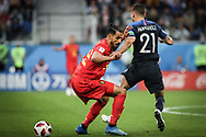 Nacer Chadli of Belgium and Lucas Hernandez of France during the 2018 FIFA World Cup Russia, Semi Final football match between France and Belgium on July 10, 2018 at Saint Petersburg Stadium in Saint Petersburg, Russia - Photo Thiago Bernardes / FramePhoto / ProSportsImages / DPPI