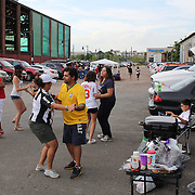 New York Red Bulls fans dancing while tailgating in the car park before the New York Red Bulls Vs San Jose Earthquakes, Major League Soccer regular season match at Red Bull Arena, Harrison, New Jersey. USA. 19th July 2014. Photo Tim Clayton
