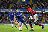 Manchester United Midfielder Paul Pogba battles with Chelsea Defender Cesar Azpilicueta during the The FA Cup 5th round match between Chelsea and Manchester United at Stamford Bridge, London, England on 18 February 2019.