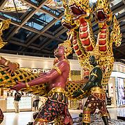 An ornate display in Suvarnabhumi Airport Terminal, Bangkok, Thailand.