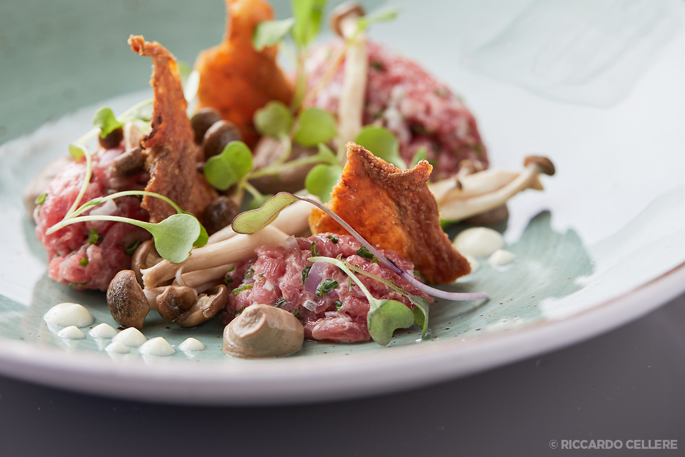 Food photography. Salmon tartare at Hopkins restaurant in Montreal.