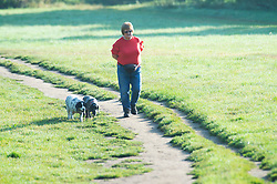 © Licensed to London News Pictures 16/09/2021. <br /> Sidcup, UK, A dog walker. People out and about in the morning September sun at Footscray Meadows in Sidcup, South East London. Photo credit:Grant Falvey/LNP