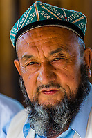 A Uyghur man, Turpan, Xinjiang Province, China. Turpan is a small oasis town and former Silk Road outpost. Uyghur people are a Central Asian people of Muslim Turkic origin. They are China's largest minority group.