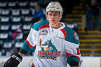KELOWNA, CANADA - FEBRUARY 10: Carsen Twarynski #18 of the Kelowna Rockets stands on the ice during warm up against the Vancouver Giants on February 10, 2017 at Prospera Place in Kelowna, British Columbia, Canada.  (Photo by Marissa Baecker/Shoot the Breeze)  *** Local Caption ***