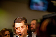 Tomio Okamura a Czech-Japanese entrepreneur, writer and far-right politician and the leader of the euro-skeptic, anti-immigrant Freedom and Direct Democracy (SPD) party at the election center located at Hotel Cechie in Prague after they gained more then 10 percent of the votes at the Czech parliamentary elections.