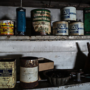Mechanical supplies on shelves in the workshop at Wordie House (Base F). Originally known as Base F and later renamed after James Wordie, chief scientist on Ernest Shackleton's major Antarctic expedition, Wordie House dates to the mid-1940s. It was one of a handful of bases built by the British as part of a secret World War II mission codenamed Operation Tabarin. The house is preserved intact and stands near Vernadsky Research Base in the Argentine Islands in Antarctica.