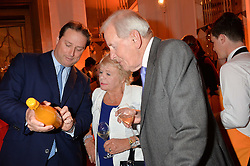 Left to right, JO THORNTON, JUDITH CHALMERS and NEIL DURDEN-SMITH at the Veuve Clicquot Business Woman Awards held at Claridge's, Brook Street, London on 11th May 2015.