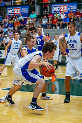 29 June 2013: Brady Sanders (has ball), 50 - Michael Hoekstra, Blake Cowden (behind Brady).  2013 Boys Illinois Basketball Coaches Association All Start game at the Shirk Center in Bloomington IL