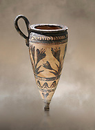 Minoan pconical rhython with lilies decoration made in Minoan Crete, Akrotiri, Thira (Santorini) National Archaeological Museum Athens. 17th-16th cent BC. .<br /> <br /> If you prefer to buy from our ALAMY PHOTO LIBRARY  Collection visit : https://www.alamy.com/portfolio/paul-williams-funkystock/minoan-art-artefacts.html . Type -   Athens    - into the LOWER SEARCH WITHIN GALLERY box. Refine search by adding background colour, place, museum etc<br /> <br /> Visit our MINOAN ART PHOTO COLLECTIONS for more photos to download  as wall art prints https://funkystock.photoshelter.com/gallery-collection/Ancient-Minoans-Art-Artefacts-Antiquities-Historic-Places-Pictures-Images-of/C0000ricT2SU_M9w