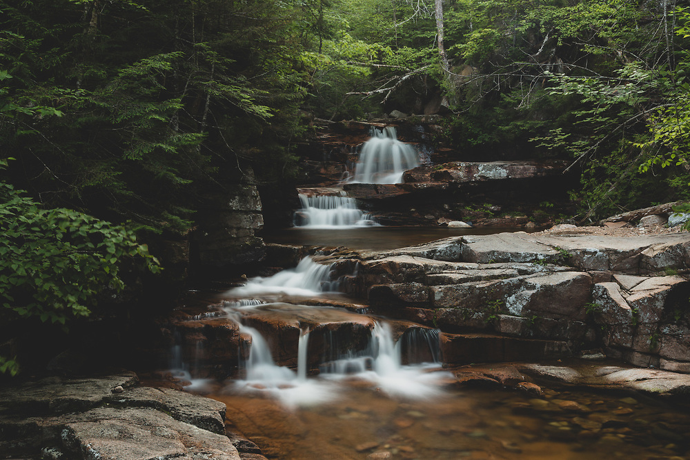 Mountain water flowing on a summer afternoon at Bemis Brook Falls.