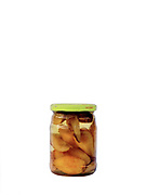 A jar of preserved pears from the orchard prepared for the winter by a peasant farmer, Botiza, Maramures, Romania