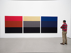 Visitor looking at painting Triptychon by Palermo at Pinakothek Moderne art museum in Munich Germany
