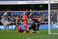 Wes Morgan, the Leicester City Captain (c) scoring an own goal to make it 1-1. Barclays Premier league match, Queens Park Rangers v Leicester city at Loftus Road in London on Saturday 29th November 2014.<br /> pic by John Patrick Fletcher, Andrew Orchard sports photography.