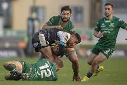 March 2, 2019 - Galway, Ireland - Keelan Giles of Ospreys tackled by Colby Fainga'a and Peter Robb of Connacht during the Guinness PRO 14 match  between Connacht Rugby and Ospreys at the Sportsground in Galway, Ireland on March 2, 2019  (Credit Image: © Andrew Surma/NurPhoto via ZUMA Press)