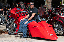 Bob Bolognese on his custom 2013 Harley-Davidson Road Glide at the Perewitz Paint Show at the Broken Spoke Saloon during Daytona Beach Bike Week, FL. USA. Wednesday, March 13, 2019. Photography ©2019 Michael Lichter.