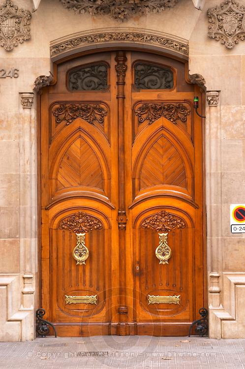 Modernista door. Barcelona, Catalonia, Spain.