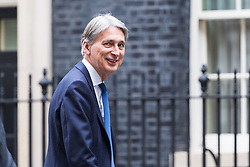 London, October 17 2017. Chancellor of the Exchequer Philip Hammond is seen in Downing Street after returning from a meeting in the Treasury. © Paul Davey