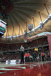 15 February 2014:  Referee Paul Janssen stands in the lane during a time out under the big top of Redbird Arena during an NCAA Missouri Valley Conference (MVC) mens basketball game between the Bradley Braves and the Illinois State Redbirds  in Redbird Arena, Normal IL.