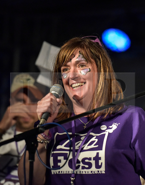 © Licensed to London News Pictures. 27/06/2015. Witney, Oxfordshire. MICHALA MATTHEWSON, sister of Maureen Baker organised the event. 3000 attended the very first Lib Fest that took place in memory of Witney schoolgirl Liberty Baker who was killed on the way to school by 18 year old driver Robert Blackwell. PAUL BAKER, the father of Liberty was accused by Police of harassing the Blackwell family and was due in front of magistrates, but it was dropped at the last minute. Photo credit : MARK HEMSWORTH/LNP