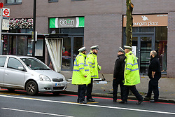 © Licensed to London News Pictures. 11/12/2020. London, UK. Police investigating officers in Stamford Hill, north London following a car which mounted on pavement and plough into pedestrians. Five people have been rushed to the hospital. Photo credit: Dinendra Haria/LNP
