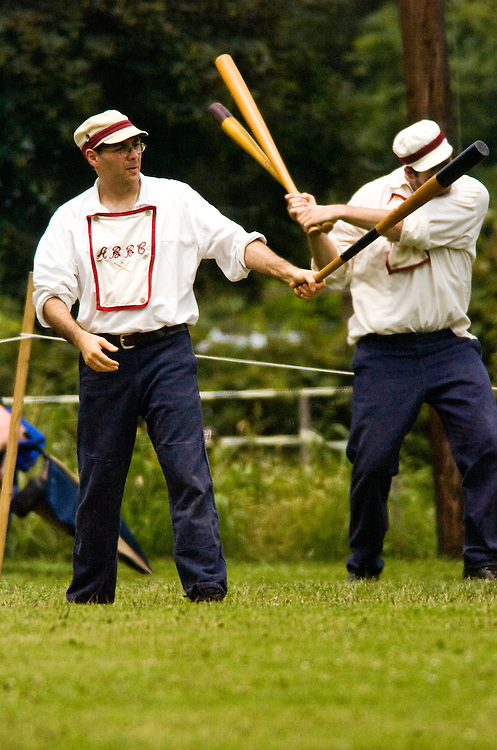 (staff photo by Matt Roth)..The Elkton Eclipse hosted a four team, four game Gemcraft Chesapeake Cup Tournament, an all day tournament held at the Elk Landing Historic site Saturday July 15, 2006...New York-based Atlantic Base Ball Club (ABBC).Chesapeake and Potomac Baseball Club (CPBC).Elkton Eclipse.Talbot County-based Fair Play Base Ball Club...