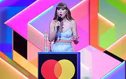 Taylor Swift accepts the Global Icon award during the Brit Awards 2021 at the O2 Arena, London. Picture date: Tuesday May 11, 2021.