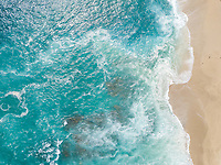 Aerial view of turquise waters of Indian Ocean, Reunion island.