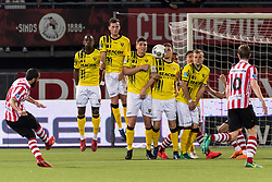 Soufyan Ahannach of Sparta Rotterdam takes a free kick during the Dutch Eredivisie match between Sparta Rotterdam and VVV Venlo at the Sparta stadium Het Kasteel on April 07, 2018 in Rotterdam, The Netherlands