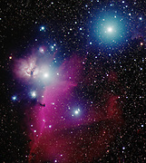 Orion's belt, with the three bright stars Alnitak and Alnilam. We do also see the dark Horsehead Nebula (B33)  against the the emission nebula IC434 and the Flame Nebula (NGC2024), all located in the constellation of Orion.