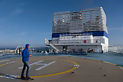 Passengers on deck of Brittany Ferries roll-on / roll-off car ferry on 26th September 2021 in Roscoff, Brittany, France. Brittany Ferries is the trading name of the French shipping company, BAI Bretagne Angleterre Irlande S.A. founded in 1973 by Alexis Gourvennec, that operates a fleet of ferries and cruise ferries between France and the United Kingdom.