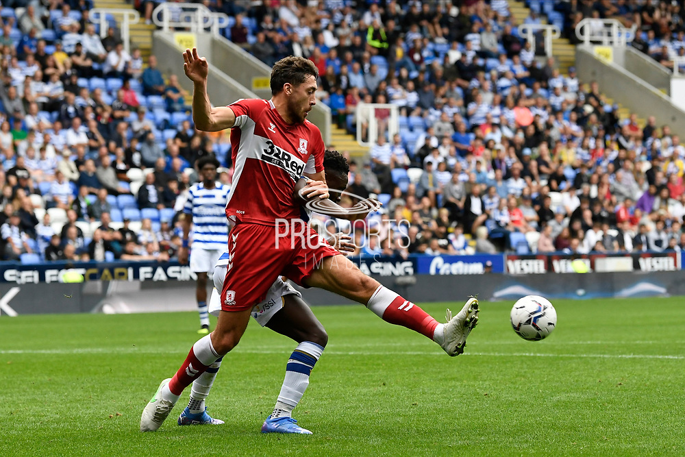 Matt Crooks (25) of Middlesbrough battles for possession during the EFL Sky Bet Championship match between Reading and Middlesbrough at the Select Car Leasing Stadium, Reading, England on 25 September 2021.