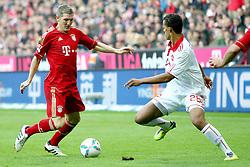 29.10.2011, Allianz Arena, Muenchen, GER, 1.FBL,  FC Bayern Muenchen vs 1. FC Nuernberg, im Bild Bastian Schweinsteiger (Bayern #31) im kampf mit Chandler Timothy (Nuernberg #26)  // during the match FC Bayern Muenchen vs 1. FC Nuernberg, on 2011/10/29, Allianz Arena, Munich, Germany, EXPA Pictures © 2011, PhotoCredit: EXPA/ nph/  Straubmeier       ****** out of GER / CRO  / BEL ******