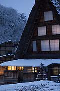 Covered in snow house at dusk, Shirakawa-go, Japan