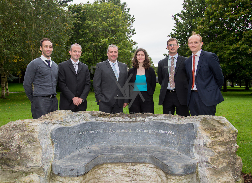 29.08. 2017.                                                   <br /> A new scholarship, the Roibeárd Thornton Memorial-Janssen Scholarship, was launched at the University of Limerick, named in memory of Dr Roibeárd Thornton, a graduate of the University. Dr Thornton, who had been working with Janssen Pharmaceuticals in Cork for over 4 years, had just returned to Limerick with his family when he was tragically killed in a car crash in January 2016.<br /> <br /> Pictured at the event with Scholarship recipient, Niamh Phelan, Kilkenny were Janssen representatives left to right, Gary Grant, John Drew, Declan Lowney Kieran O'Callaghan and Dr. Patrick Sheehy.<br /> <br /> <br /> A special seat using rock from the family land of Dr Roibeárd Thornton, was commissioned by his UL science family and brought to campus as a permanent reminder of his gentle soul. It is positioned close to Plassey House overlooking a grass valley with the River Shannon in view. Picture: Alan Place<br /> <br /> <br /> For more information, contact:<br /> Sarah Hartnett, University of Limerick Foundation Tel: 086-3872863; Email: sarah.hartnett@ul.ie