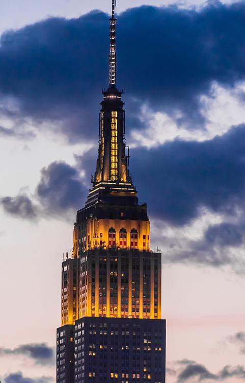 Empire State Building illuminated at twilight, New York, New York USA.