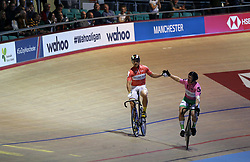 Maximilian Levy (left) celebrates beating Matthew Rotherham in the Men's Sprint Final during day two of the Six Day Series Manchester at the HSBC UK National Cycling Centre.
