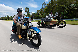 Bill Page riding his 1939 Harley-Davidson U Model flathead during the Cross Country Chase motorcycle endurance run from Sault Sainte Marie, MI to Key West, FL. (for vintage bikes from 1930-1948). Stage-9 covered 259 miles from Lakeland, FL to Miami, FL USA. Saturday, September 14, 2019. Photography ©2019 Michael Lichter.