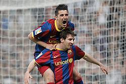16-04-2011 VOETBAL: REAL MADRID - BARCELONA: MADRID<br /> Lionel Messi (goal) and David Villa <br /> ©2011-RHP/ EXPA/ Alterphotos/ ALFAQUI/ Cesar Cebolla<br /> *** NETHERLANDS ONLY ***
