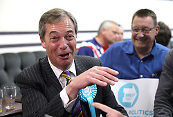 Brexit Party leader Nigel Farage greets supporters following a rally at Featherstone Working Man's Club, while on the European Election in Pontefract, West Yorkshire. Picture dated: Monday May 13, 2019. Photo credit should read: Isabel Infantes / EMPICS Entertainment.