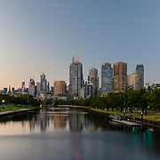 Yarra River and Melbourne skyline at night