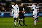 Swansea City forward Rhian Brewster (19) and Swansea City midfielder Matt Grimes (8) remonstrate with the officials during the EFL Sky Bet Championship match between Swansea City and Queens Park Rangers at the Liberty Stadium, Swansea, Wales on 11 February 2020.