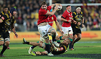 Rugby Union - 2017 British & Irish Lions Tour of New Zealand - Hurricanes vs. British & Irish Lions<br /> <br /> Brad Shields of The Hurricanes can't stop Iain Henderson of The British and Irish Lions  at Westpac Stadium, Wellington.<br /> <br /> COLORSPORT/LYNNE CAMERON