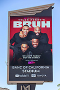 Banc of California Stadium Marquee displaying Tyler Perry's Bruh along the Interstate 110 freeway in the wake of the coronavirus COVID-19 pandemic, Wednesday, May 20, 2020. in Los Angeles, Calif. (Jevone Moore/Image of Sport)