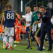 Fenerbahce's headcoach Vitor Pereira (R) and Caner Erkin (L) during their UEFA Europa league Play-Offs Second Leg soccer match Fenerbahce between Atromitos at the Sukru Saracaoglu stadium in Istanbul Turkey on Thursday 27 August 2015. Photo by Aykut AKICI/TURKPIX