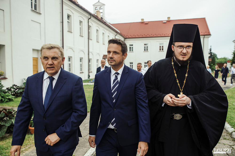 Bialystok, Poland; 22.06.2020 <br /> Rafal Trzaskowski (C), the current Mayor of Warsaw and Civic Platform's candidate for Presidency of Poland, seen during his visit to  Supraśl monastery ( Orthodox order )<br /> Photo by Adam Tuchlinski for Die Zeit