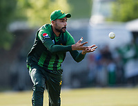 EDINBURGH, SCOTLAND - JUNE 12: Great fielding by Muhammad Amir in the first of 2 Twenty20 Internationals at the Grange Cricket Club on June 12, 2018 in Edinburgh, Scotland. (Photo by MB Media/Getty Images)